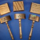 Set Of Three Wedge Gavels with Sounding Blocks Ash Wood